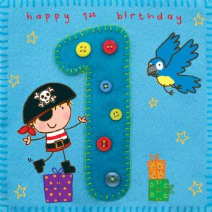 Age 1 Pirate Birthday Card TW253